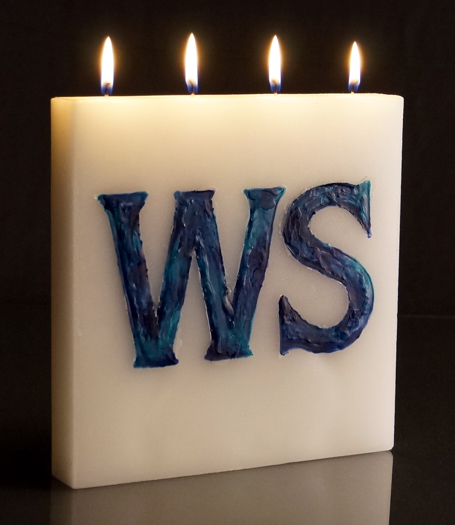 Large Tablet candle with letters on face
